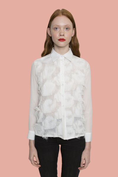 Forest White ruffle detailed transparent shirt