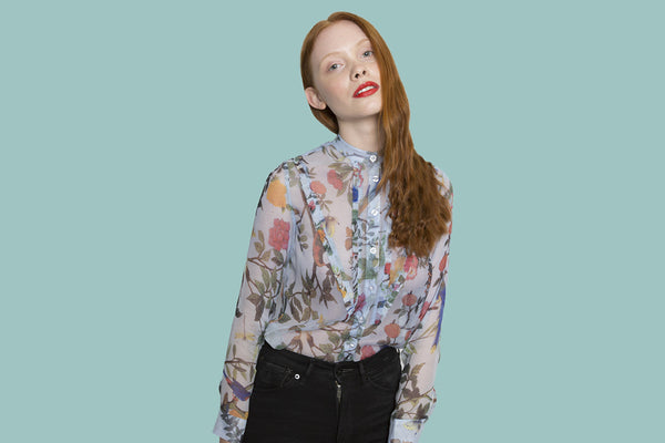 Forest pink  & blue flower longs shirt