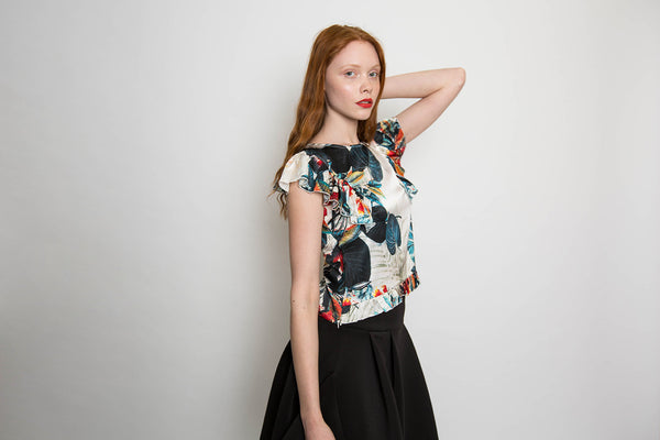 Japanese print ruffle top