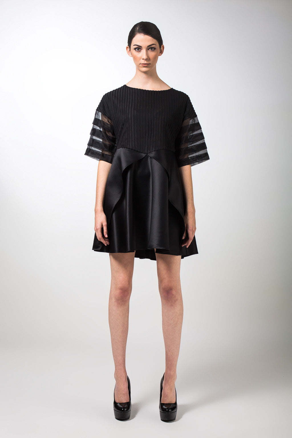 Black Silk Organza Mix Dress