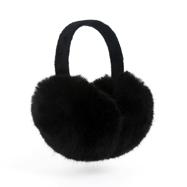 Cozy Design Women's Winter Foldable Ear Muffs with Soft Plush Faux Fur Black