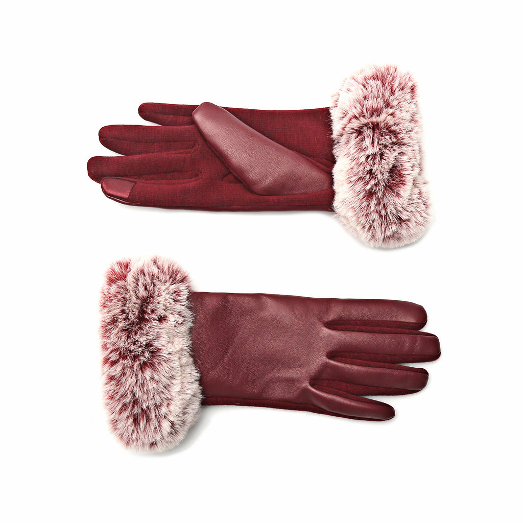 Cozy Design Women's PU Leather Screen Touch Gloves with Faux Cony Hair Cuffs Red