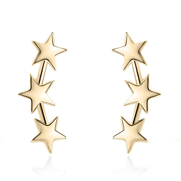 YAN & LEI Sterling Silver Triple Stars Earrings