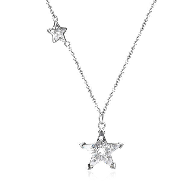 YAN & LEI Sterling Silver Twinkling Double Swarovski Crystal Stars Pendant Necklace 18""