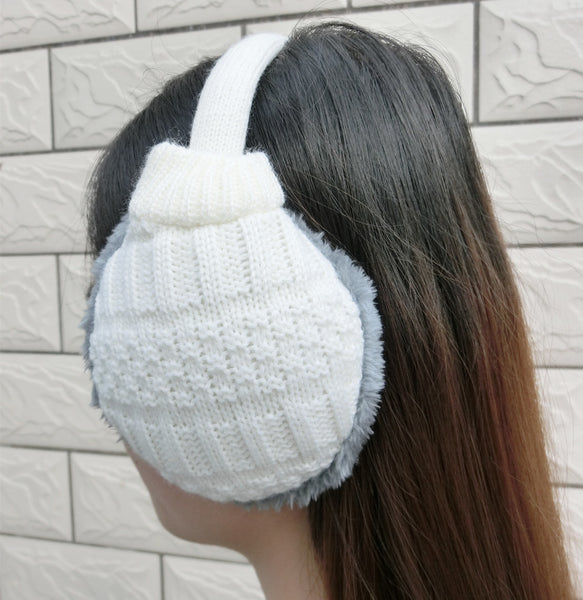 Cozy Design Women's Winter Adjustable Knitted Ear Muffs in Creamy White