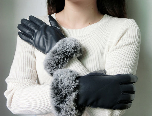Cozy Design Women's PU Leather Screen Touch Gloves with Faux Cony Hair Cuffs Navy Blue