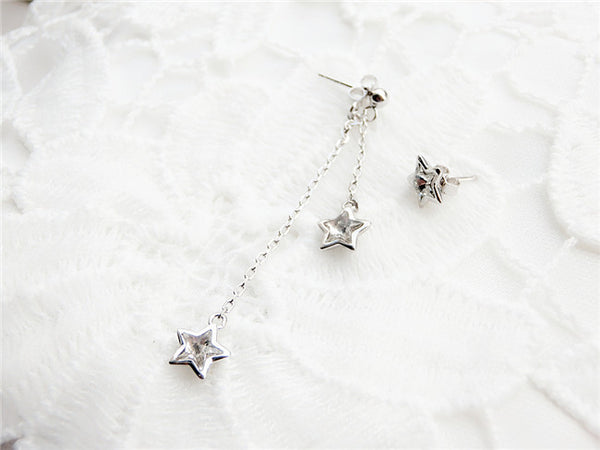 YAN & LEI Sterling Silver Triple Swarovski Crystal Stars Asymmetric Design of Stud and Dangling Earrings