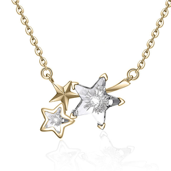 YAN & LEI Sterling Silver Triple Swarovski Crystal Shooting Stars Pendant Necklace
