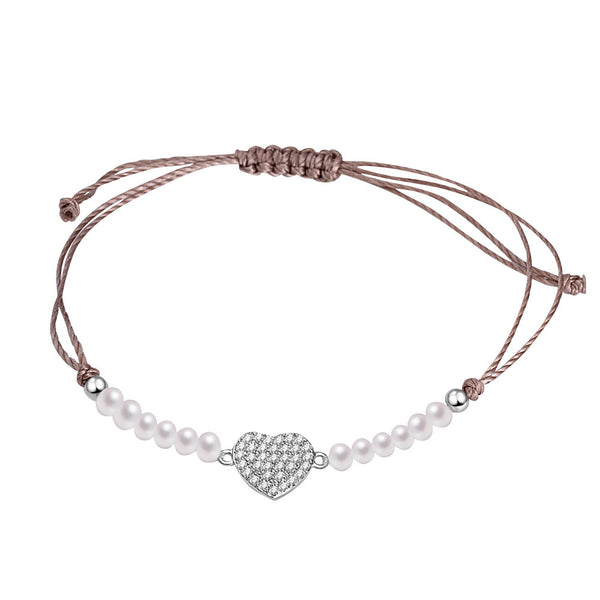 YAN & LEI Sterling Silver Linkded Hearts Butterfly Bracelet with Adjustable Tie Pull Fastening