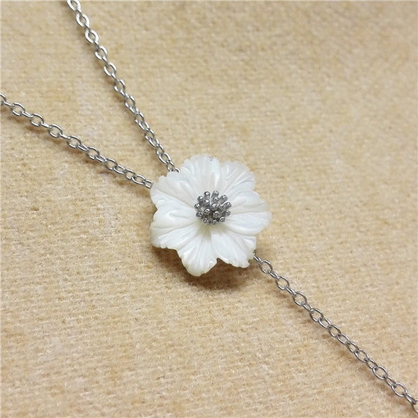 YAN & LEI Sterling Silver Sea Shell Flower with 8 MM Simulated Round Shell Pearl Y Shape Pendant Necklace