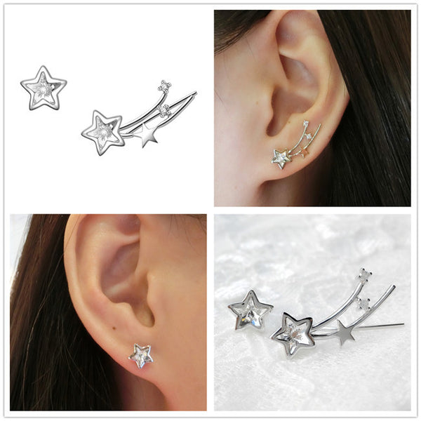 YAN & LEI Sterling Silver Swarovski Crystal Shooting Star Asymmetric Ear Crawler