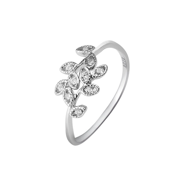 YAN & LEI Sterling Silver Leaf Wrap Ring with CZ Setting Two Color Silver Golden