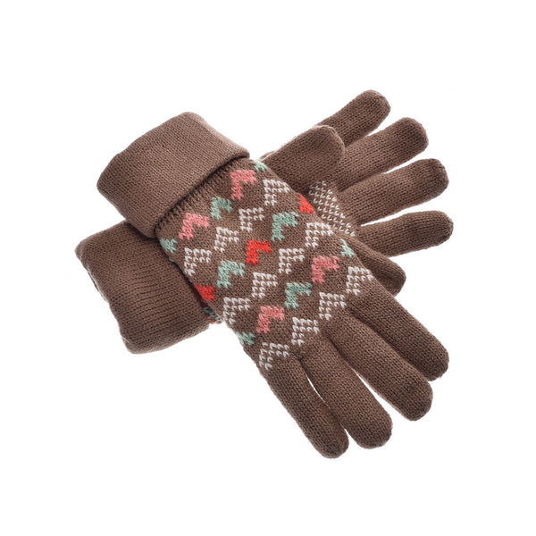 YAN & LEI Women's Cute Hearts Pattern Knitted Winter Gloves with Roll Up Cuffs in 6 Color