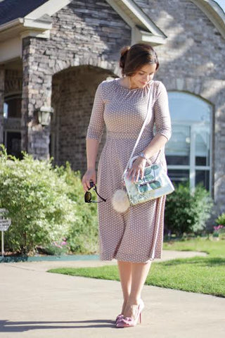 Beige midi dress with sleeves