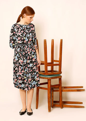 Black floral midi dress with belt