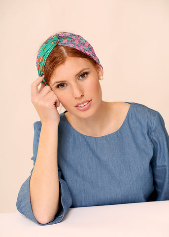 Chiffon head scarf with butterflies print