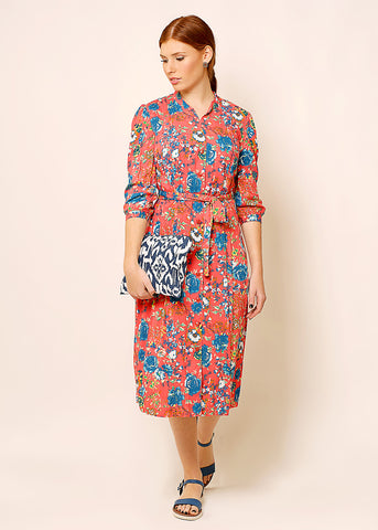 Floral shirt dress with belt