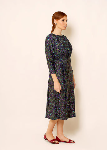 Floral midi dress with belt