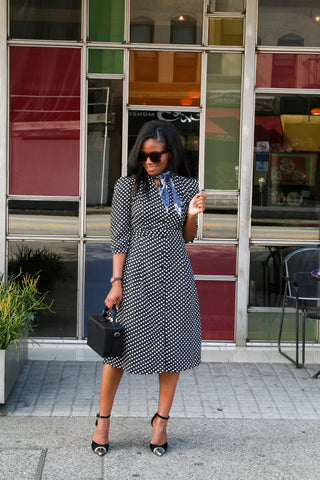 Shirt dress with polka dots