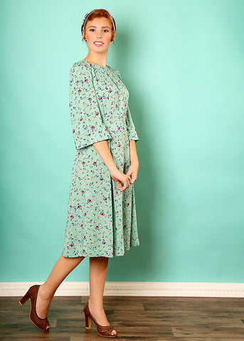 Mint floral holiday dress