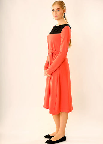 Coral Red holiday dress