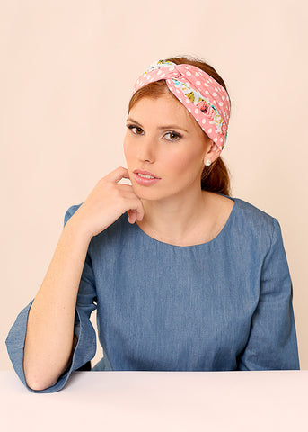 Floral Pink head scarf made of Chiffon