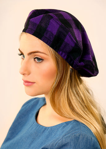 Purple Beret hat made of Wool