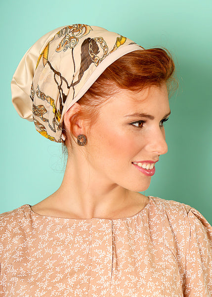 Beige head scarf with print