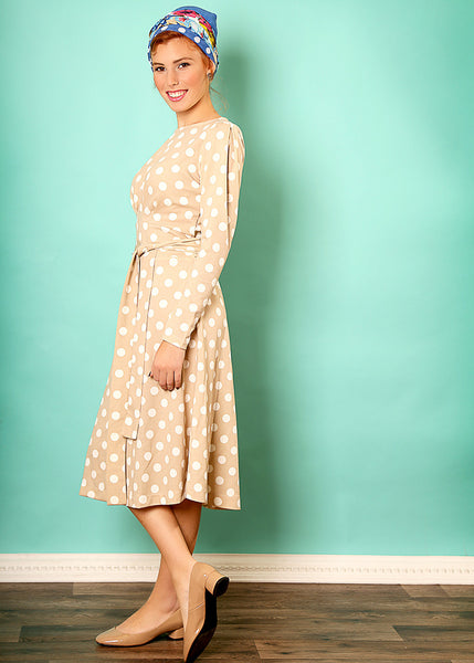 Beige midi dress with polka dots print