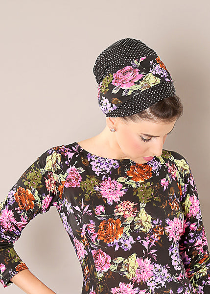 Black head scarf with flowers and dots