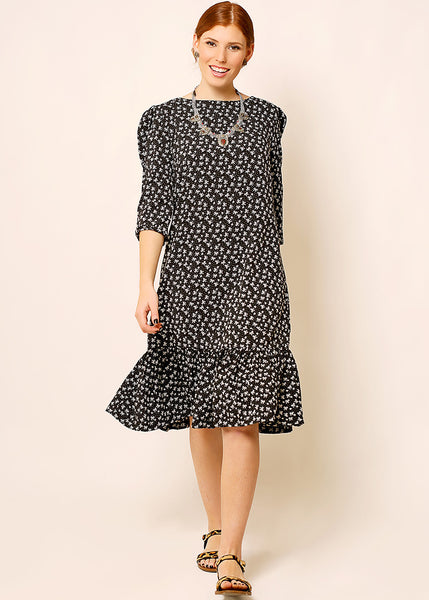 Black  A - line dress in little bows print