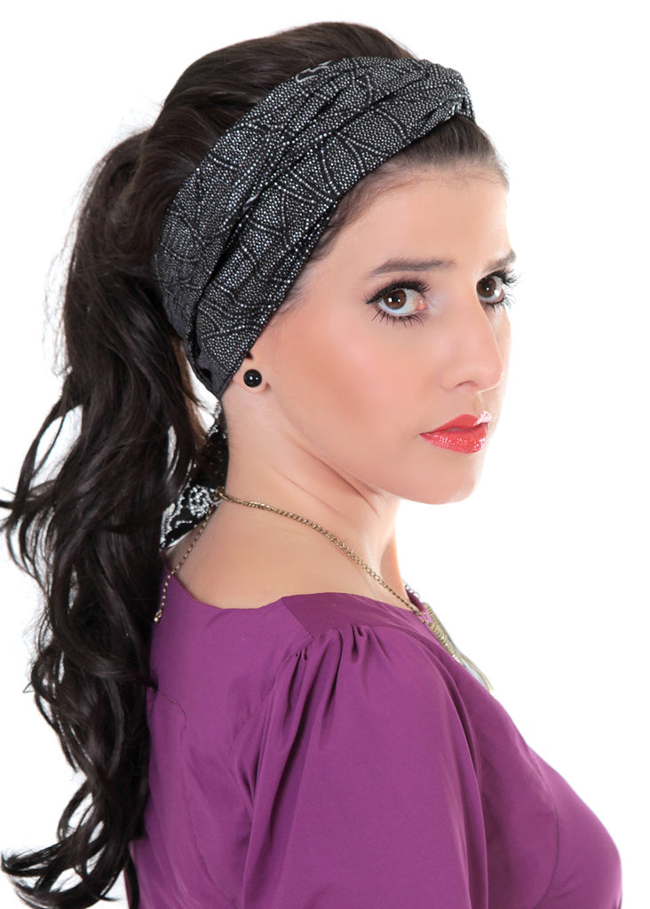 Black headband with silver print