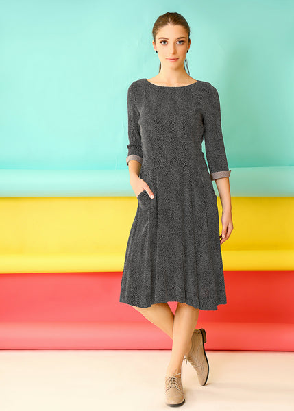 Black midi dress in Cotton