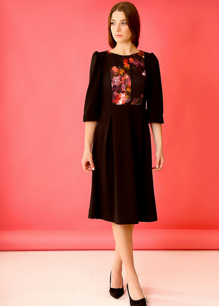 Black midi dress with floral front