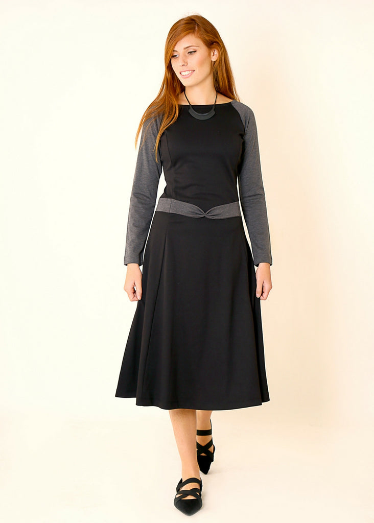 Black Jersey dress with Grey sleeves