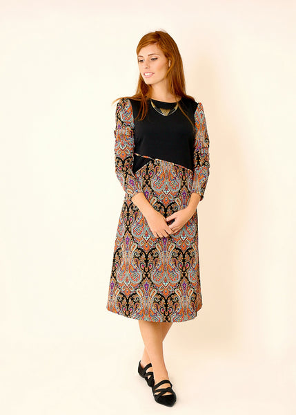 Black A line dress with paisley print