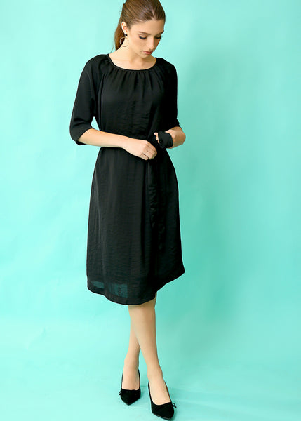 Black midi dress with belt