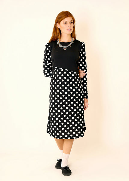 Black A line dress with polka dots print