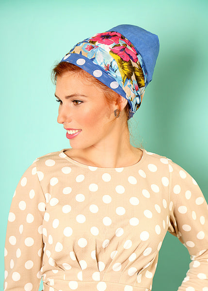 Blue head scarf with dots and flowers