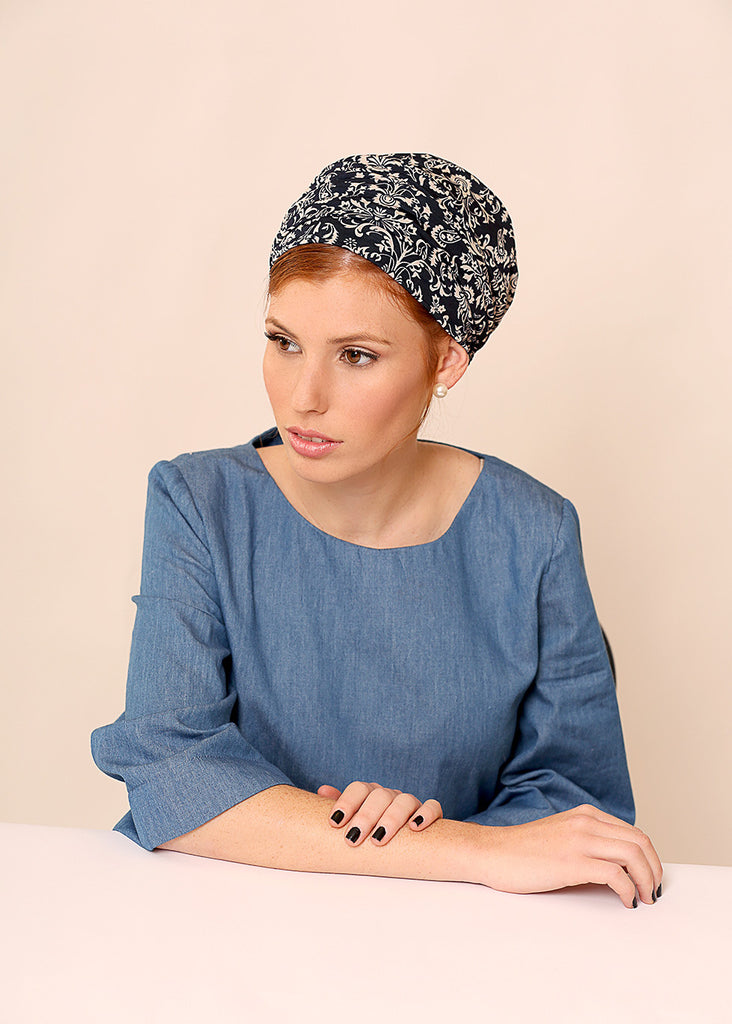 Blue head scarf with print