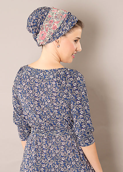 Blue head scarf with floral print