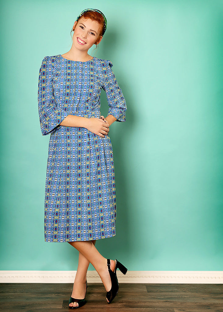 Blue midi dress with geometrical print
