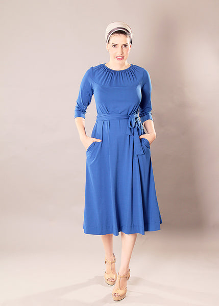 Blue midi dress with belt