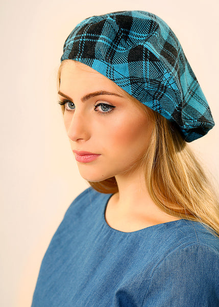 Light Blue Beret hat made of Wool