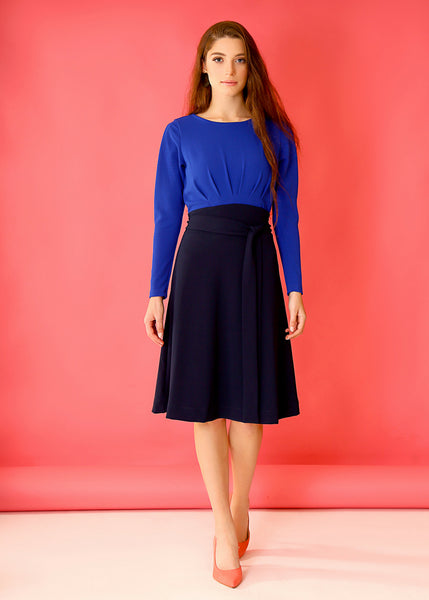 Blue midi dress with long sleeves