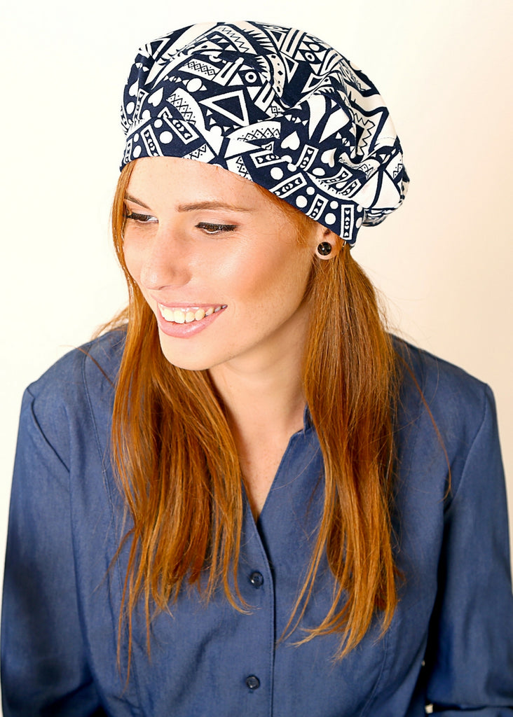 Blue and White Jersey beret hat