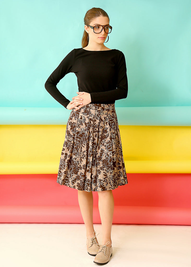 Brown floral midi skirt with pleats