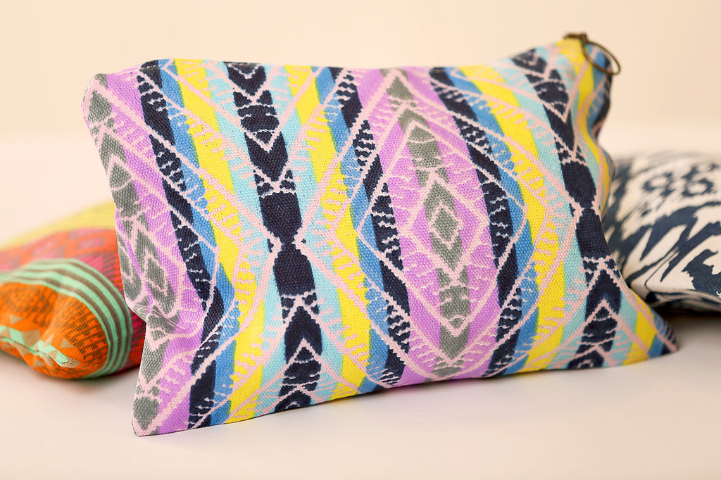 Canvas clutch bag with stripes