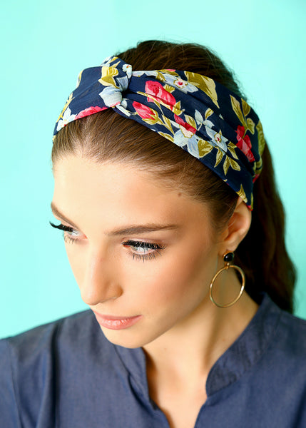 Blue floral twist headband