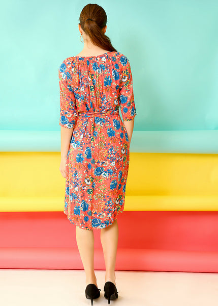 Coral floral midi dress with belt